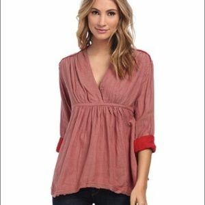 FREE PEOPLE All Who Wander Striped Peasant Top Med